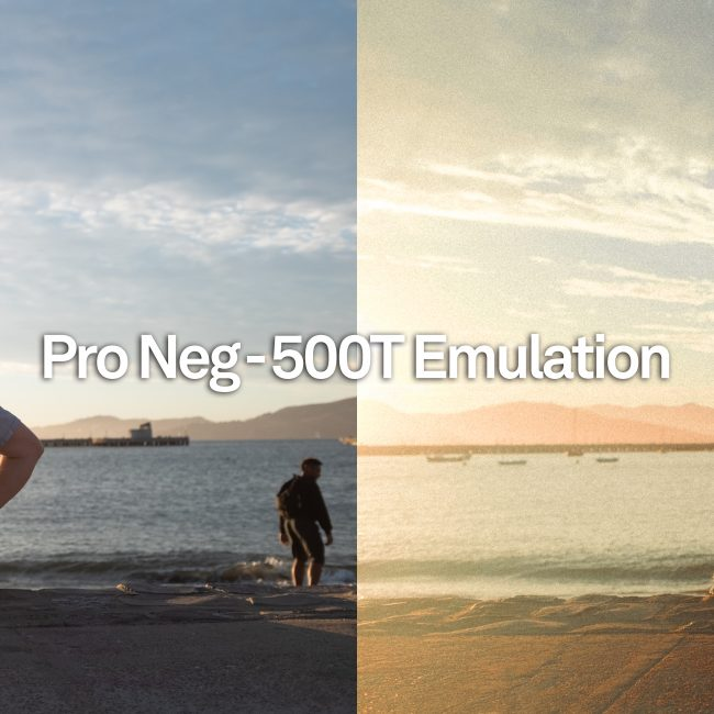 before and after shot of Pro Neg-500T Emulation